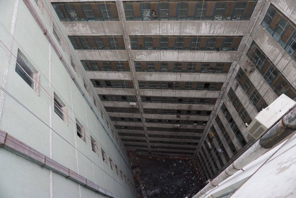 Once we got to the top floor, this was a look down the inner column of the building.