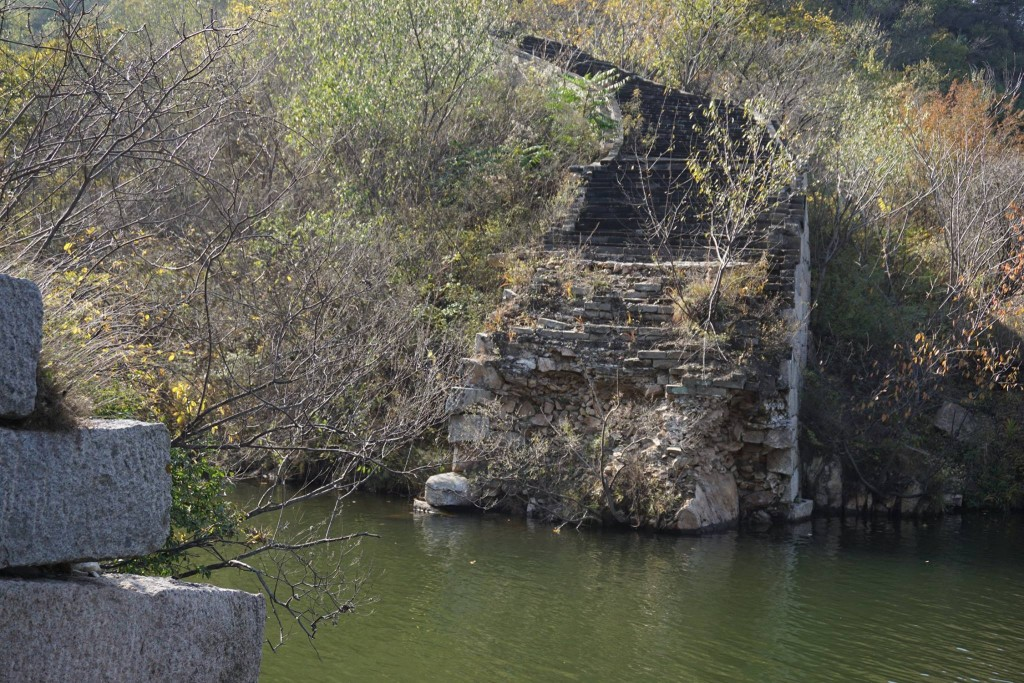 This section of the Wall is partially under water and falling apart after a dam was built for a reservoir.