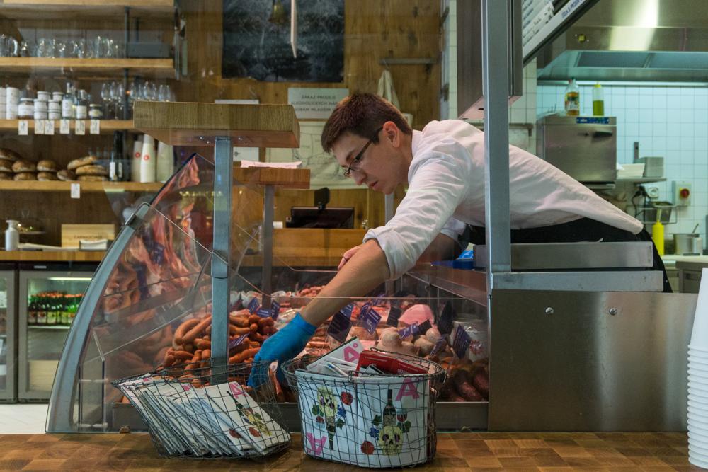 A butcher at Naše Maso in Prague