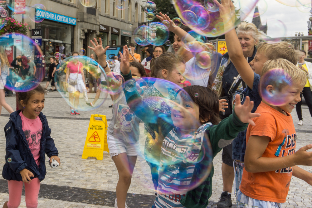 Children playing with bubbles in Wenceslas Square