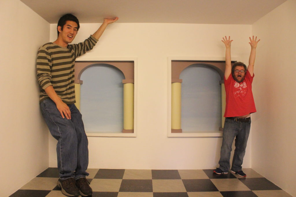 Ames room in the Escher museum